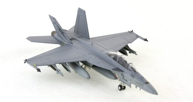 Hobby-Master-HA5103-FA-18F-Super-Hornet-Diecast-Model-A44-212-1-Sqn-RAAF-Okra-Front-Starboard-View